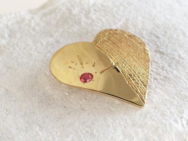 """Emission"" Ruby and Brass Brooch"