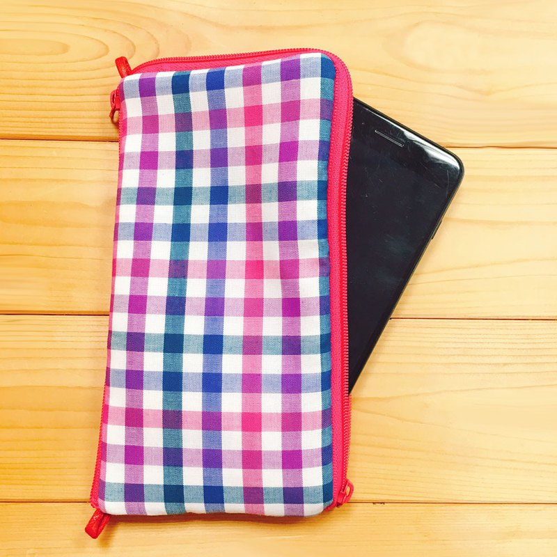 Phone bag (Purple pink colorful plaid) make to order*