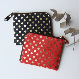 Pigskin's slim mini wallet Mizumata Red