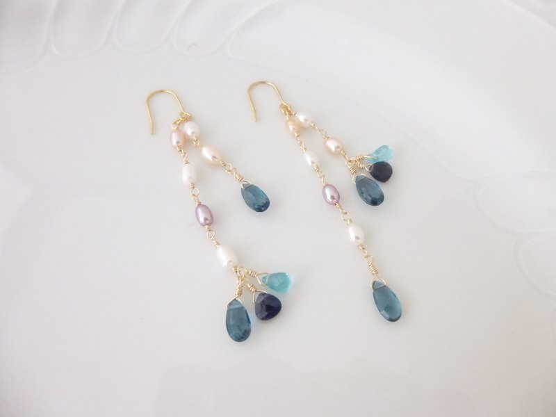 London Blue Topaz and Rice Pearl Earrings