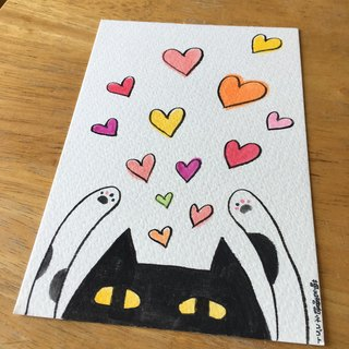 Hand painted postcard - black pill gives you full of love