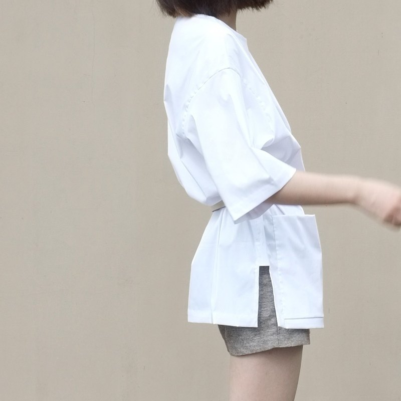 Gao fruit / GAOGUO original designer brand women's minimalist silhouette in Changbai short sleeve shirt pocket