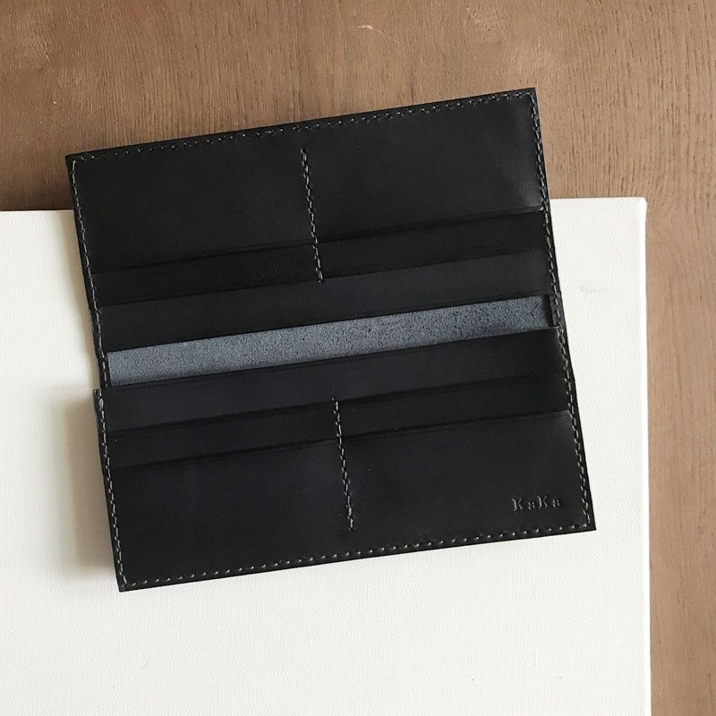 Leather long clip _8 card layer _2 banknote layer _ single side thickening _ black