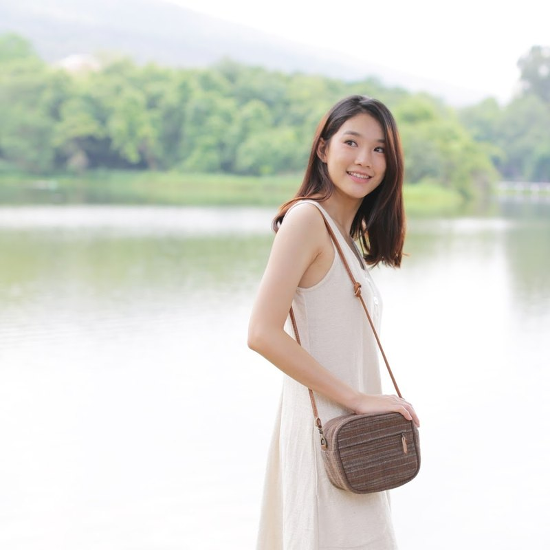 Crossbody Bags Little Tan Mini Bags Botanical Dyed Cotton Brown-Blue Color