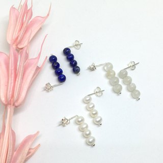 geometry. Pearl lapis lazuli moonstone natural stone sterling silver earrings buy one get one free