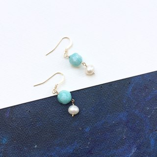 14kgf-amazonite& pearls earrings