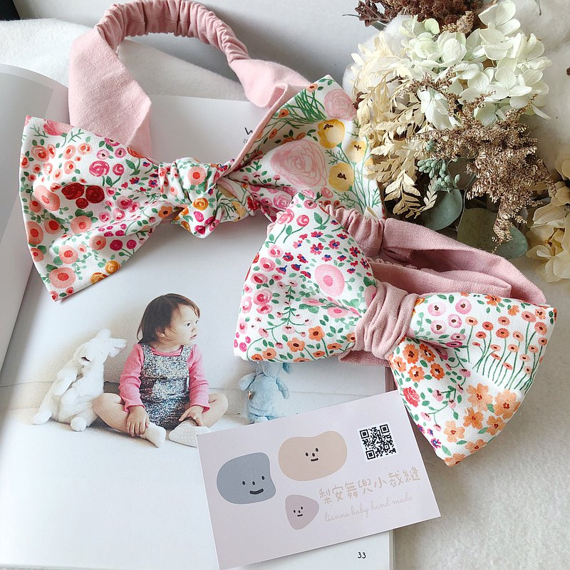 Tender pink flower sea handmade three-dimensional bow parent-child hair band Miyue gift box