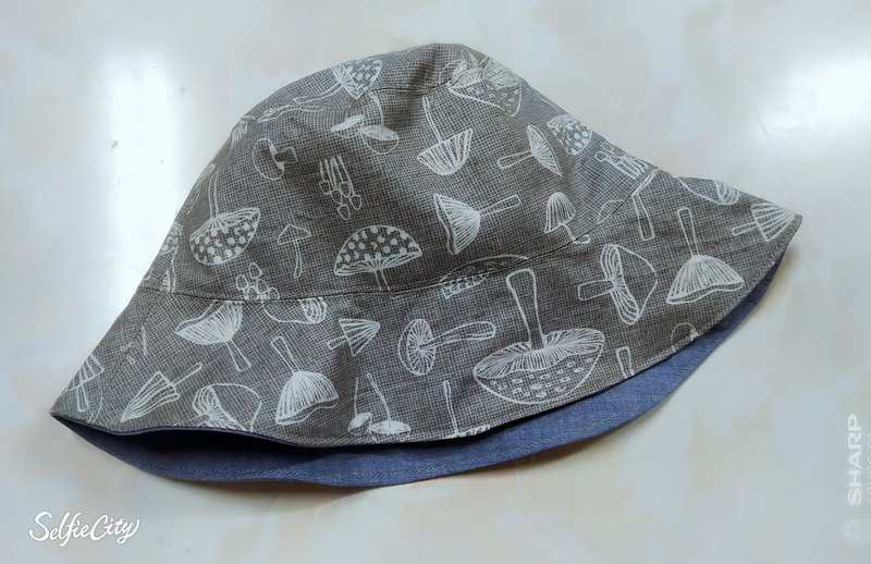 Textured gray mushroom denim blue double-sided fisherman hat sunhat