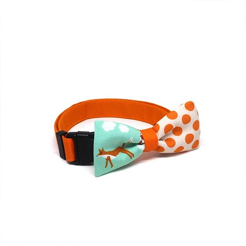 GOOOD Dog Collar (Medium Sz) | Smarty - What Did The Fox Say | 100% Animal & Orange Dots Fabric