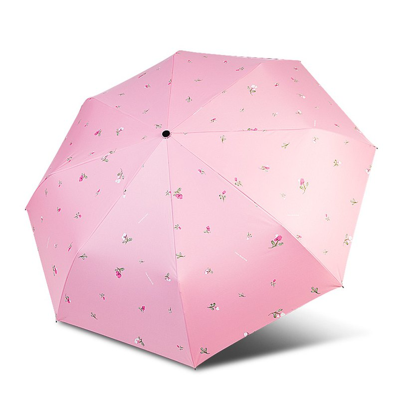 [TDN] Lily Orchid UL Super Easy to Open Cooling Three Fold Umbrella Vinyl Sunny Umbrella (Rose Pink)