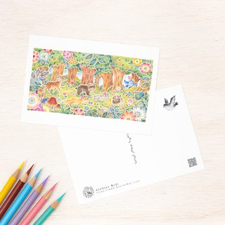 "4 pieces set. Like a picture book. Postcard ""Everyone in a Flowering Forest"" PC - 323"