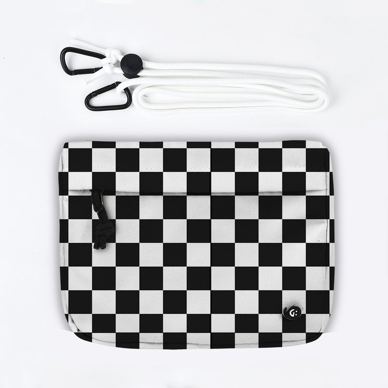 Grinstant mix and match detachable group shoulder bag - black and white series (checkerboard)