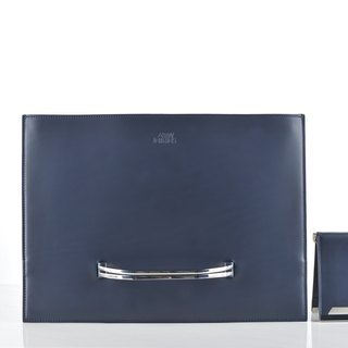 SALE Slate briefcase and Raze wallet in navy smooth leather (SET)