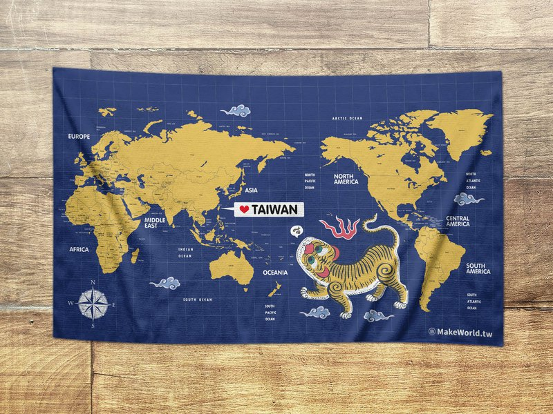 Make World map manufacturing sports bath towel (blue and yellow tiger howling)