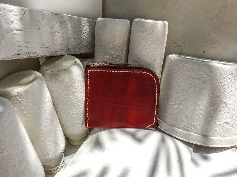Do not hit the wine red vegetable tanned leather full leather L-shaped purse