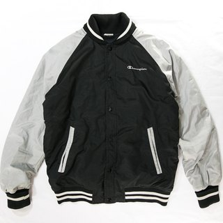 [3thclub Ming Ren Tang] champion of US-made goods and old baseball jacket black and silver color chp-002
