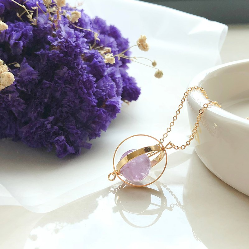 Romantic planet. universe. Golden ring. Lavender amethyst. necklace
