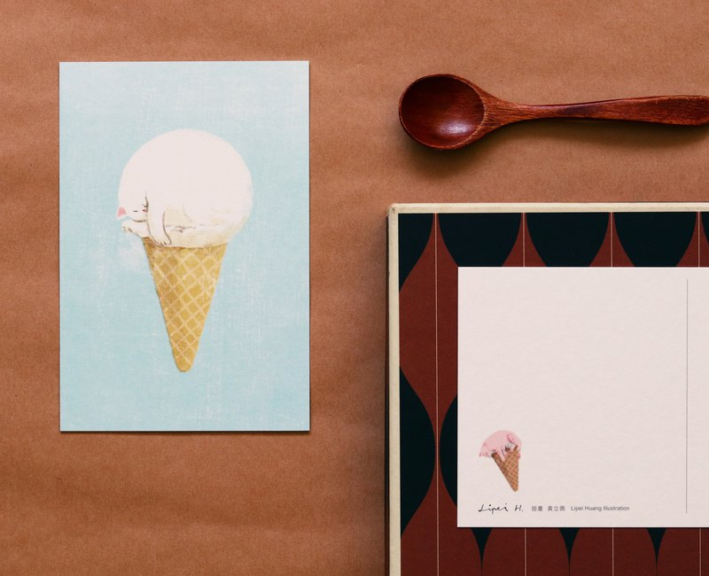 Vaniilla Cat Ice Cream Postcard