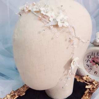 Garden style handmade flower earrings with bridal tiara jewelry two-piece