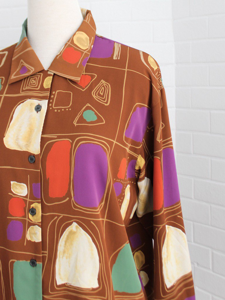 Retro autumn and winter loose 90s personality geometric graffiti printing caramel orange long sleeve vintage shirt