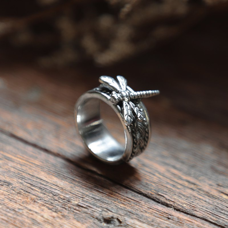Cigar Band dragonfly ring braided knot Mother's day gift Viking silver 925 celti