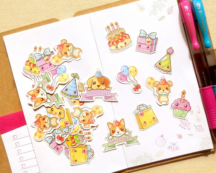 Birthday Stickers - 30 Pieces - Planner Stickers - Stickers for Planner
