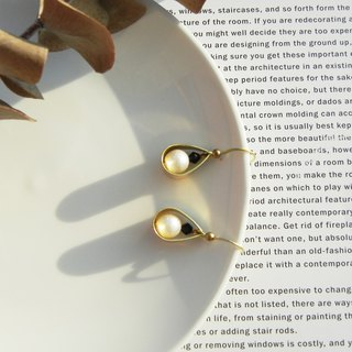 *coucoubird*drip-type brass pearl earrings
