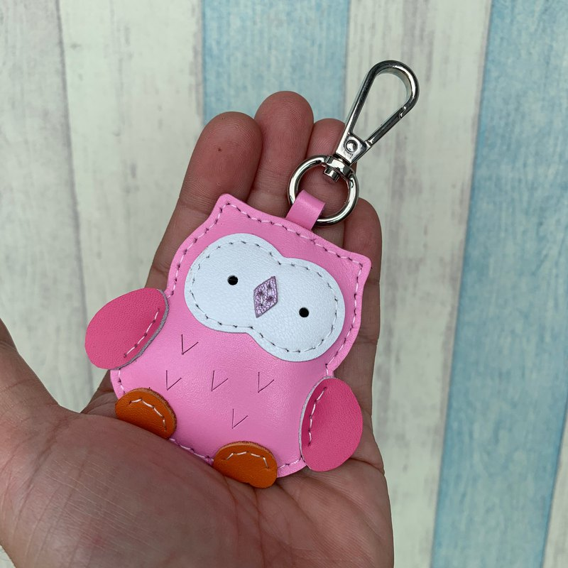 Pink cute owl handmade sewn leather keychain small size