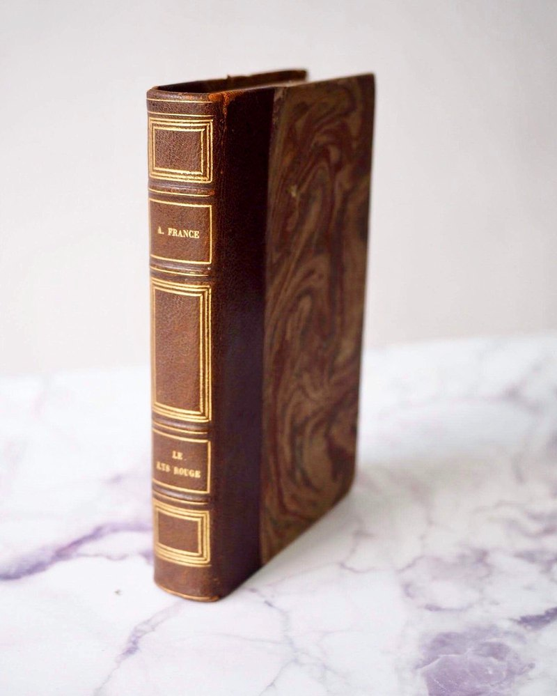 European centuries-old antique leather original book French literature