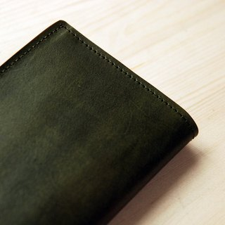 [Father's Day] [hand dyed series] [planted leather long clip] dark green leather long clip