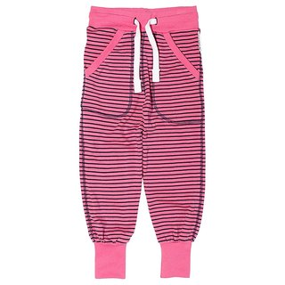 [System] Swedish Lovelybaby organic cotton striped trousers elastic cuffs pink / blue (Ages 1Y-8Y)