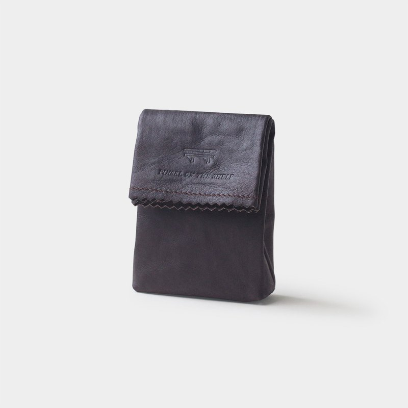 paper key pouch : mauve brown