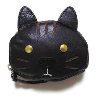 Marie / Mary genuine leather leather coin case / accessory case / black cat