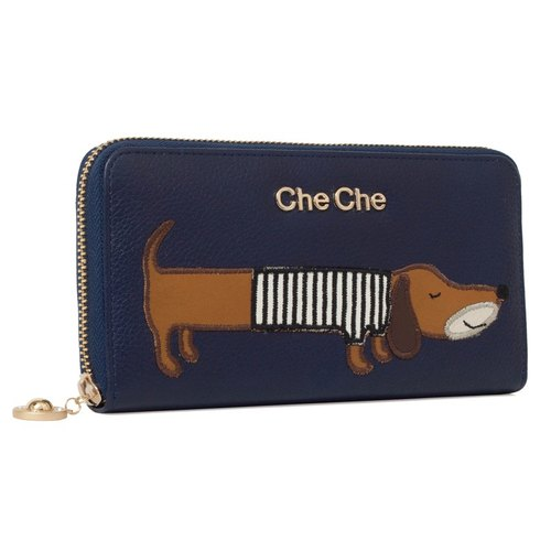 Dachshund Dog Leather Long Wallet