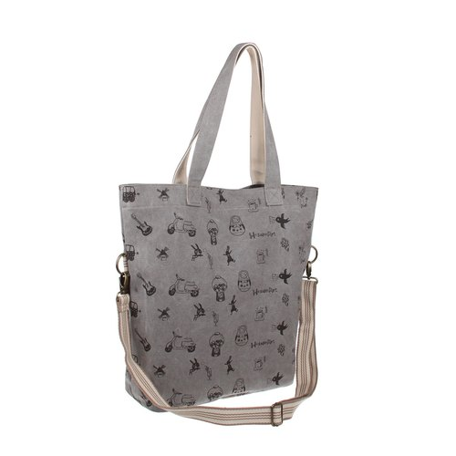 BB20301 : grey color silkscreen pattern canvas big bag