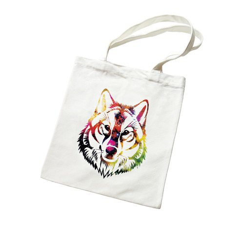 COSMIC WOLF Wenqing simple and fresh canvas literary environmental shoulder bag shopping bag - beige wolf universe design own brand Milky Way fashion triangle