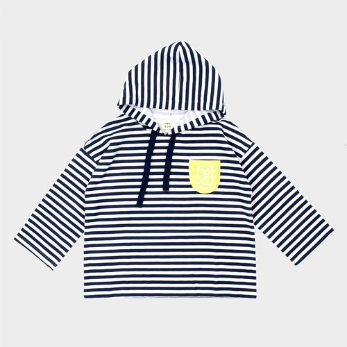 【HEYSUN】 small school series / mini basketball court hit color pocket silk silk striped hooded T