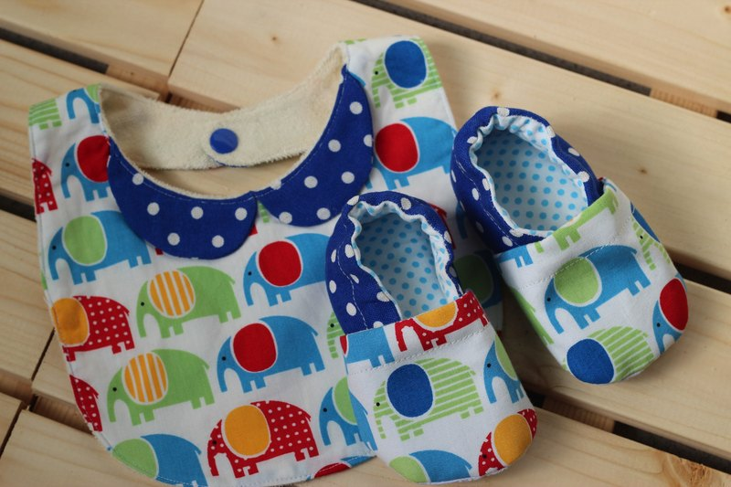 Elephants lined up - blue full moon ceremony births ceremony Bibs Baby Shoes +