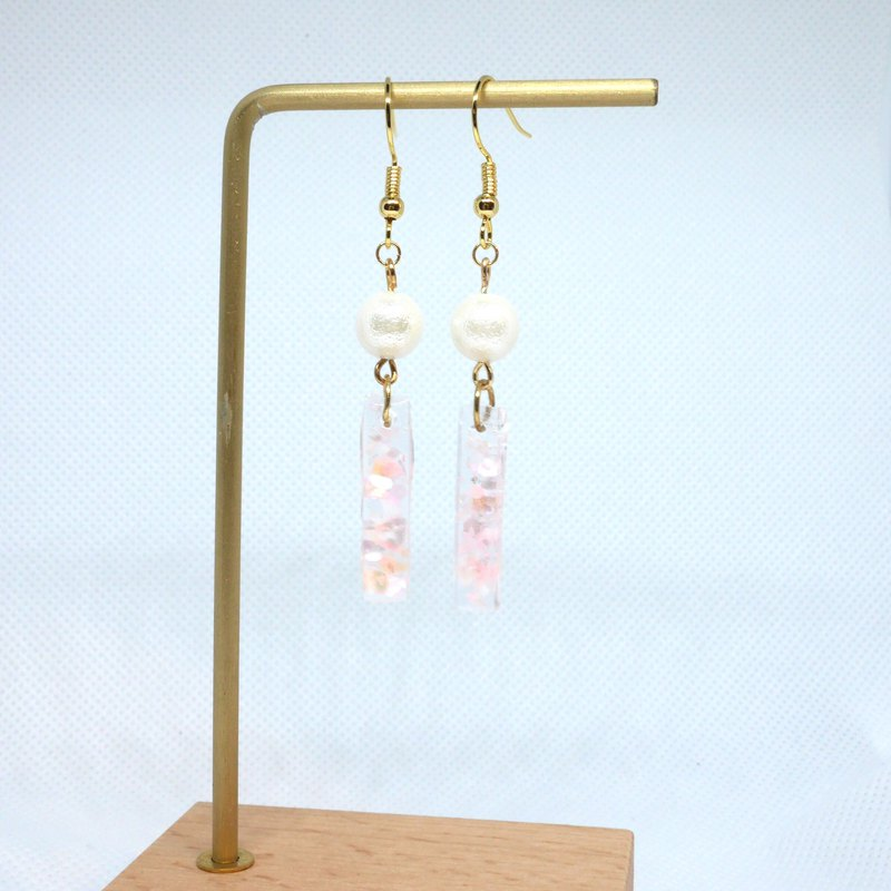 Pink UV Resin Pearl Drop Earrings