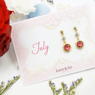 Edith & Jaz • Birthstone with CZ Collection - Ruby Quartz(Jul) Earrings