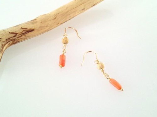 Coral natural coral (coral) K14GF earrings