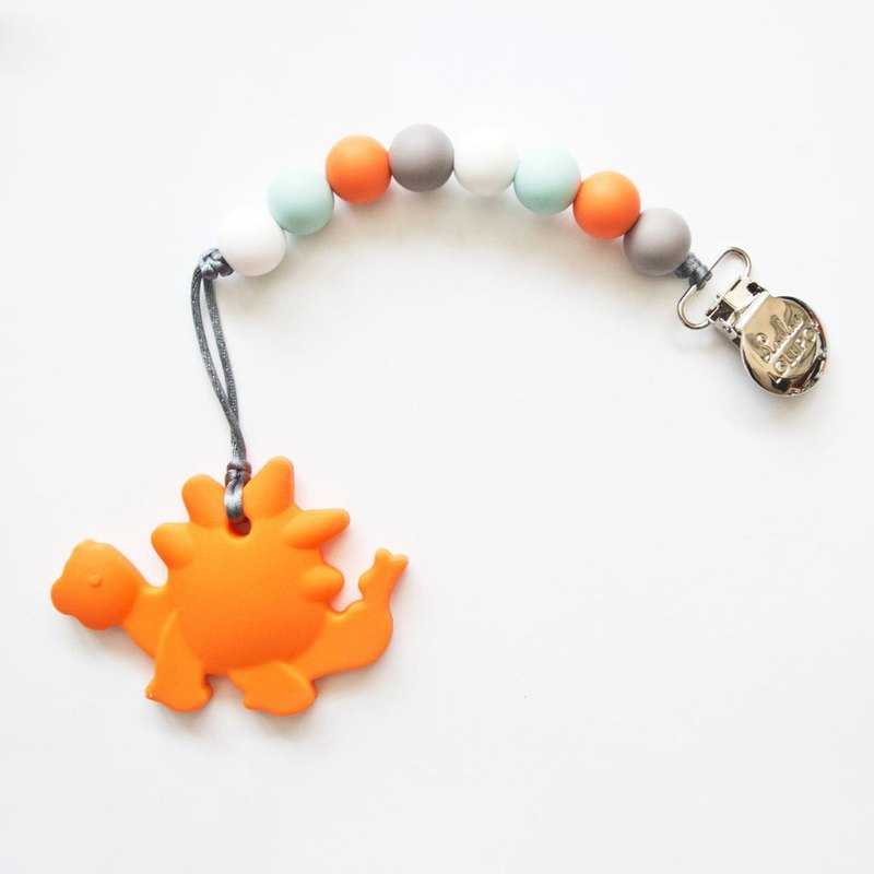 Loulou lollipop Canada infant model solid tooth set / pacifier chain clip - orange dinosaur