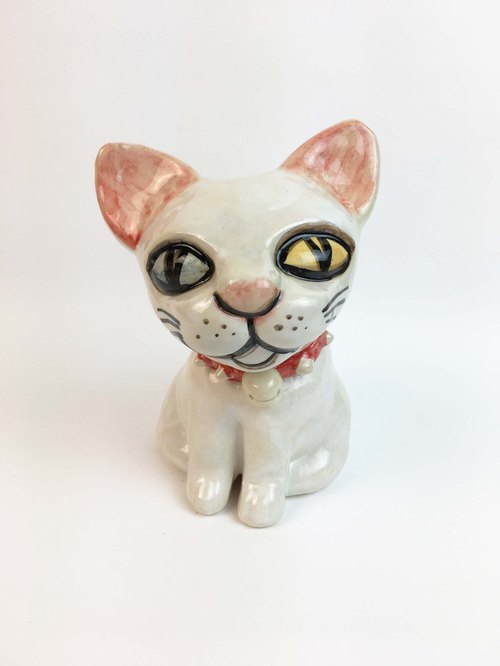 Nice Little Clay Stereo Hand Ornament_Red Rivet Collar White Cat 0501-02