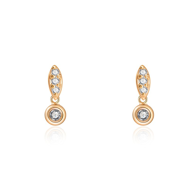 Modern 14K gold inlay with 0.14 carat diamond earrings