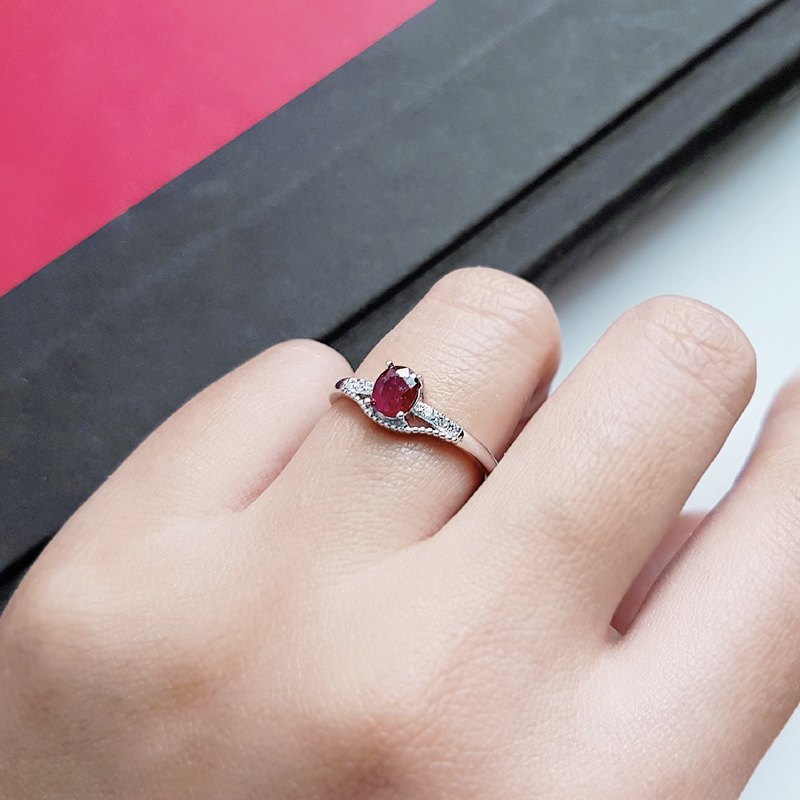 Natural Ruby Ruby 925 Silver Ring Index Finger Ring Ring Adjustable