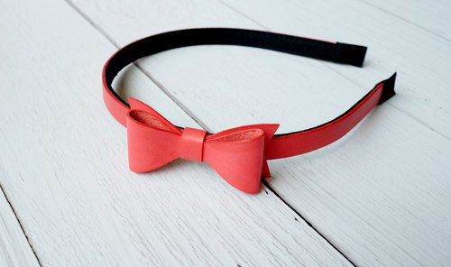 Bowknot pure leather headband