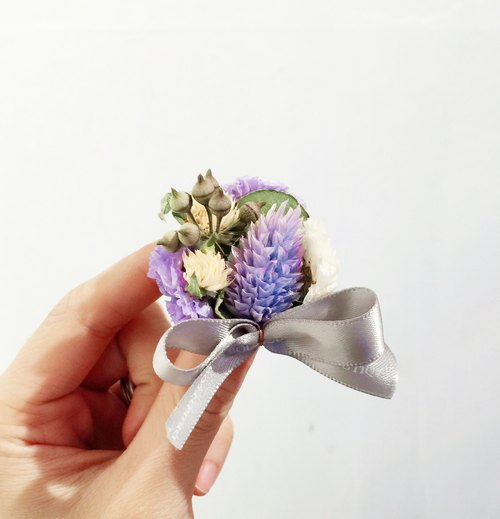 Purple dried flowers small magnet [souvenirs. Wedding ceremony