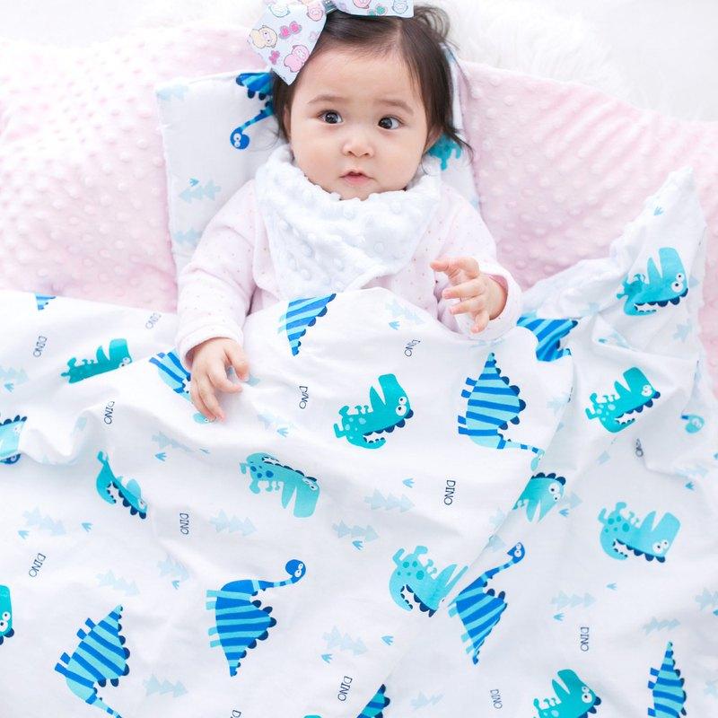 Minky加厚夾層棉毯枕套裝 點點顆粒 攜帶毯嬰兒毯 藍色-恐龍