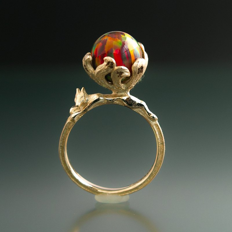 YOKAI Ring Kyubi no Kitsune 10K YG with KYOTO Opal