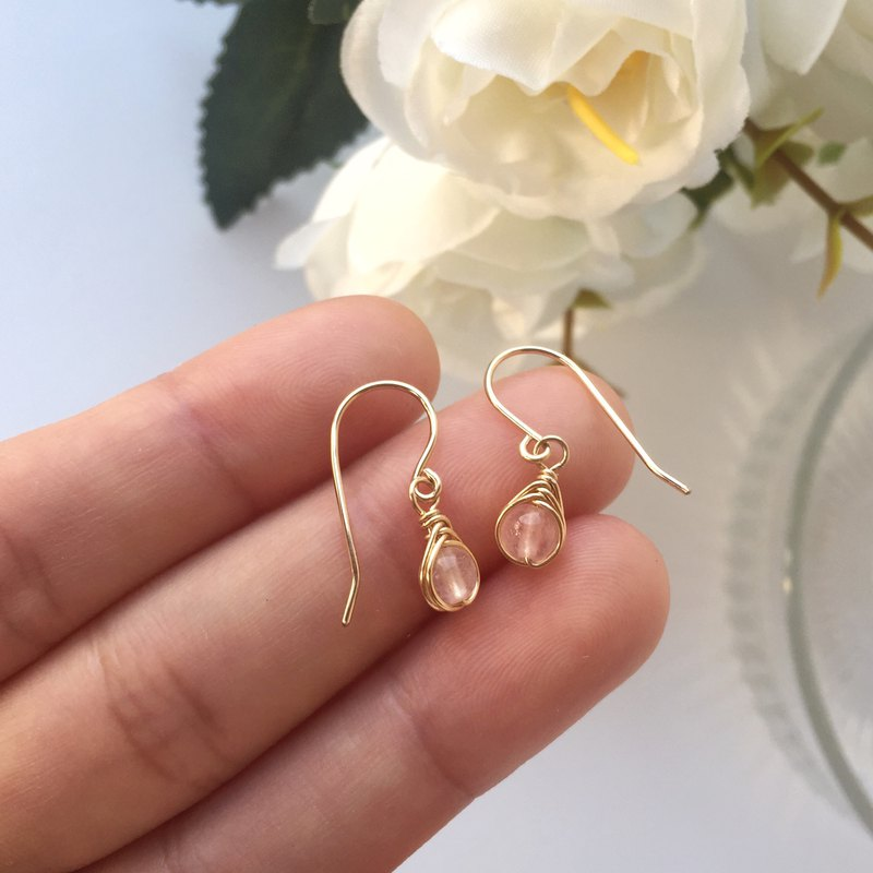 Tiny Rose Quartz Earrings 14KGF, Sterling Silver, Rose Gold Gemstone Earrings